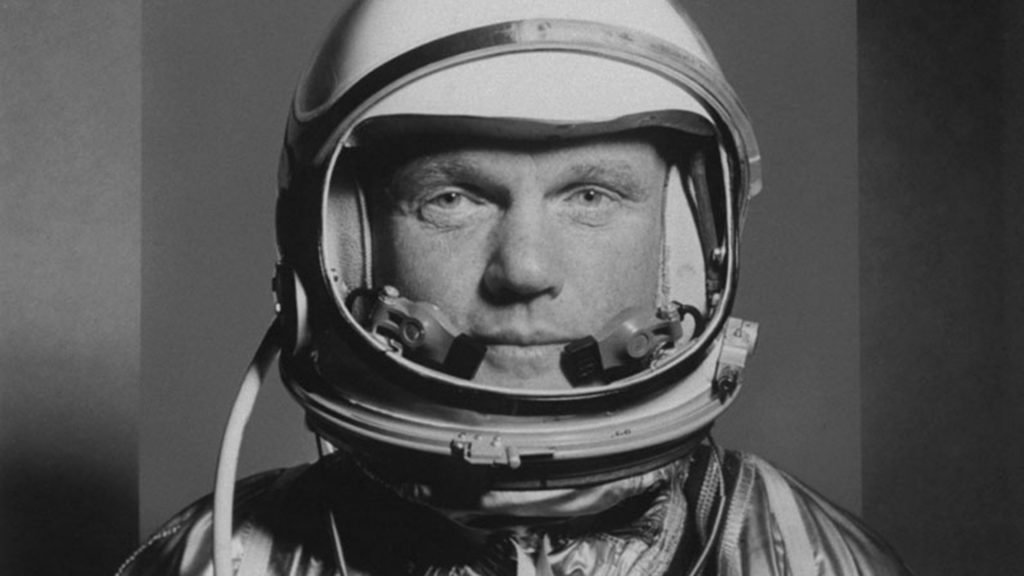 Astronaut John H. Glenn in space suit.